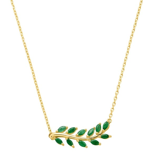 9ac4f3c046 Shop 1 ct Natural Emerald Leaf Garland Necklace in 10K Gold - Green ...