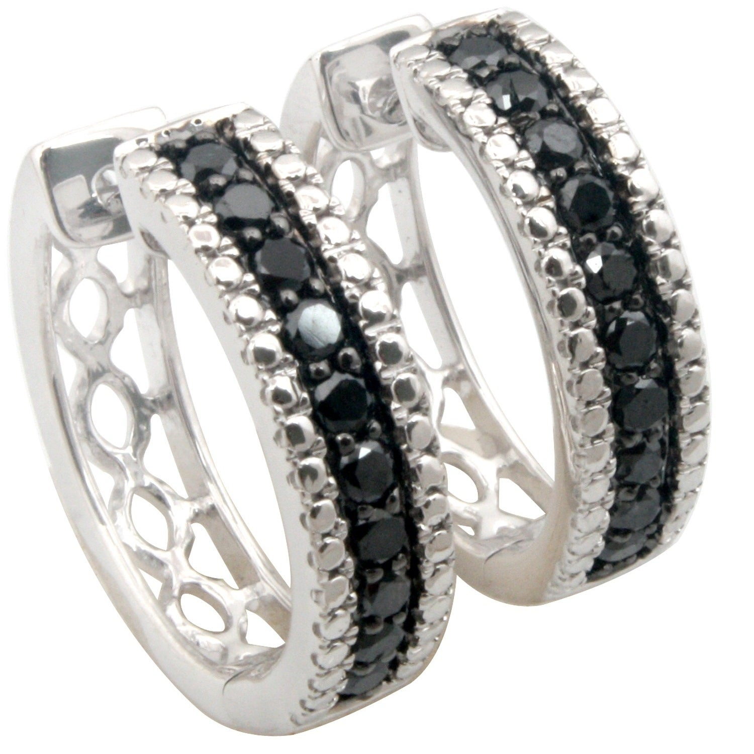 Prism Jewel Round Brilliant Cut Black Diamond Hoop Earring - Thumbnail 0