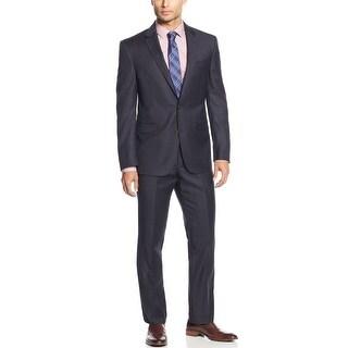 Kenneth Cole New York Slim Fit Steel Blue Suit 38 Short 38S Pants 32W
