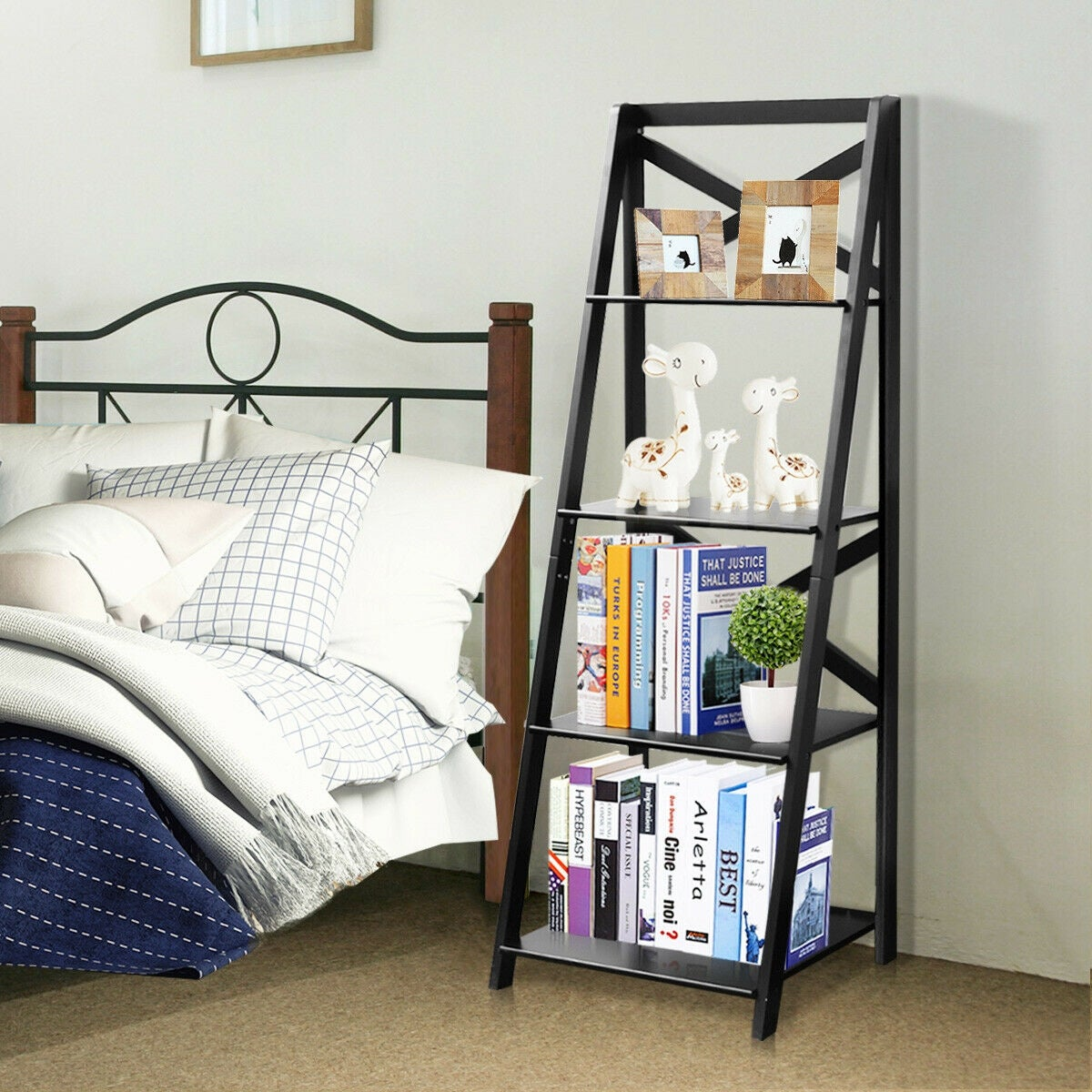 Costway 4 Tier Ladder Shelf Bookshelf Bookcase Storage Display Leaning Home Office Decor