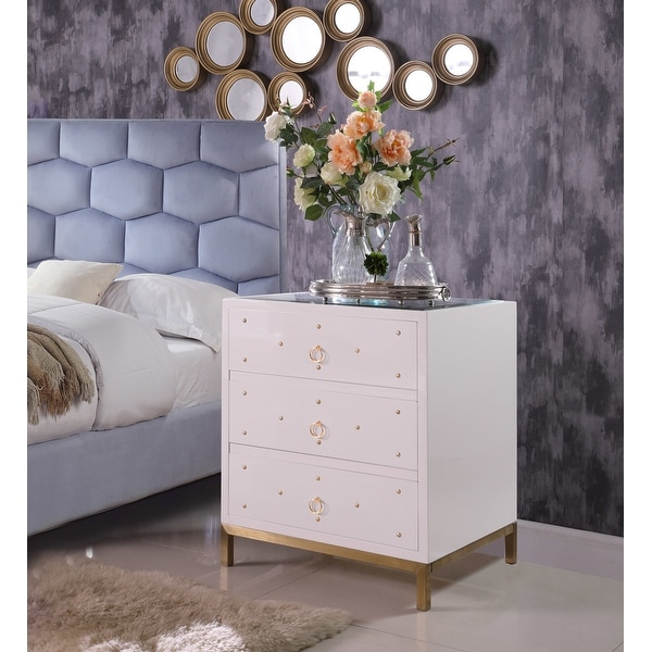 Chic Home Arezzo Mirrored 3-drawer Self-closing Nightstand. Opens flyout.