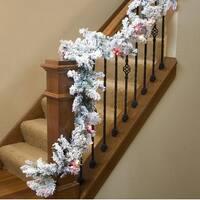 "9' x 10"" Pre-lit Flocked Pine Artificial Christmas Garland - Multi Lights - Green"