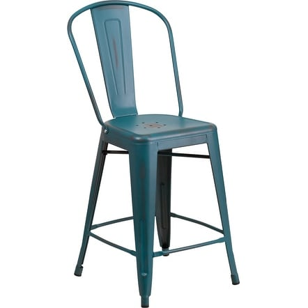 Brimmes 24'' High Distressed Kelly Blue-Teal Metal Indoor/Outdoor/Patio/Bar Counter Height Stool w/Back
