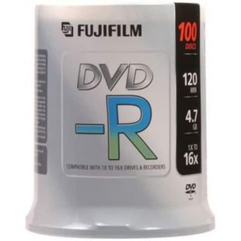 Fuji DVD-R, 15654636, 4.7GB, 16X, White Inkjet Printable, 100PK Spindle