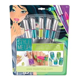 Style Me Up Perfect Nail Art Pens Set, Aqua - 6.0 in. x 12.0 in. x 3.0 in.