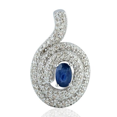 Artisan 18kt Slid White Gold Genuine Diamond Blue Sapphire Charm Pendant Jewelry