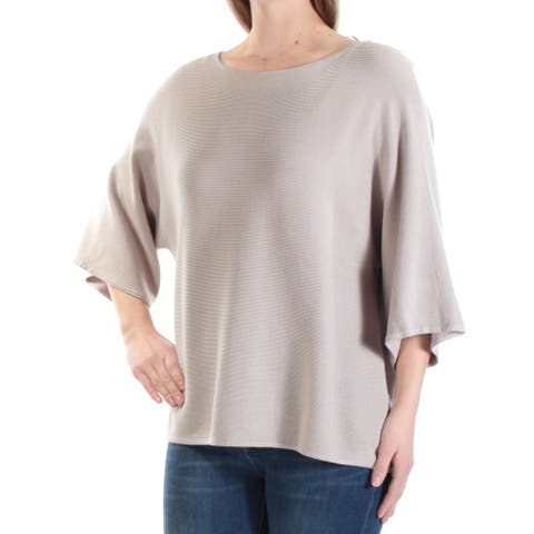 ALFANI Womens Beige Textured 3/4 Sleeve Jewel Neck Sweater Size M