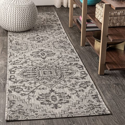 JONATHAN Y Estrella Bohemian Medallion Textured Weave Indoor/Outdoor Area Rug