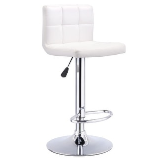 Costway 1 PC Bar Stool Swivel Adjustable PU Leather Barstools Bistro Pub Chair White  sc 1 st  Overstock.com & White Leather Bar u0026 Counter Stools - Shop The Best Deals for Nov ... islam-shia.org