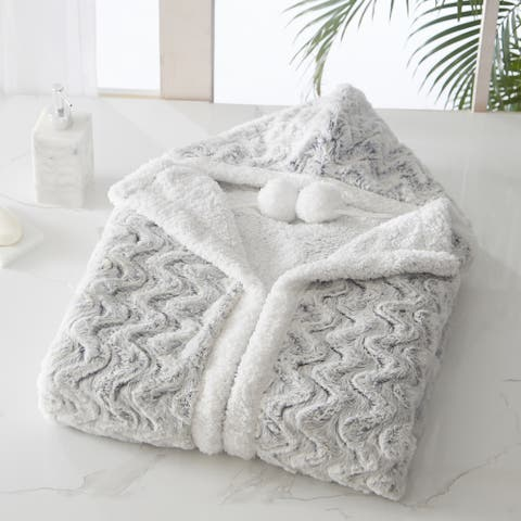 Chic Home Aubry Snuggle Hoodie Soft Coral Fleece Sherpa Lined Wearable Blanket, Silver-White, 51 x 71