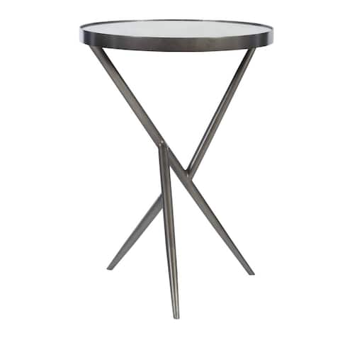 """25"""" Clear and Gray Contemporary Round Top Accent Table"""