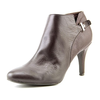 Alfani Gabry Women Round Toe Leather Brown Bootie