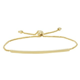 Amanda Rose Bar Bolo Bracelet in 14k Yellow Gold (Adjustable)