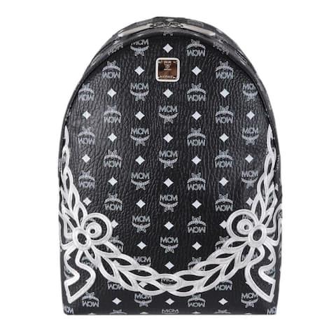 MCM Backpack Dietrich Laurel Coated Canvas Black White Visetos Logo Bag - Black/White