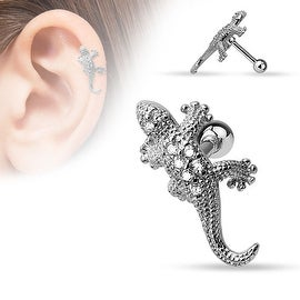 {Clear} CZ Paved Lizard 316L Surgical Steel Cartilage/Tragus Bar (Sold Individually)
