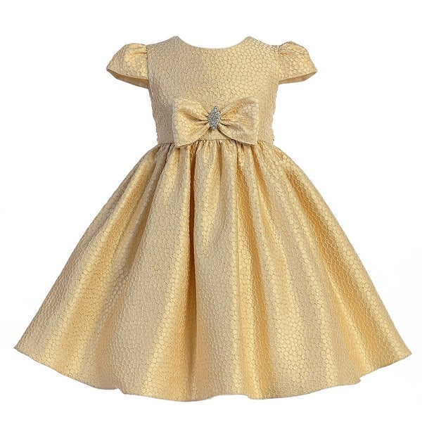 957d5ab9 Crayon Kids Girls Gold Textured Brooch Bow Accent Christmas Dress