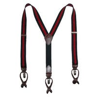 Tommy Hilfiger Men's Elastic Striped Convertible Button & Clip End Suspenders