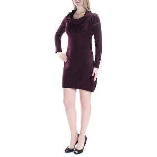 Womens Burgundy Long Sleeve Above The Knee Casual Dress Size: M