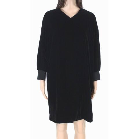 Lauren by Ralph Lauren Womens Dress Black Size 20W Plus Velvet V-Neck