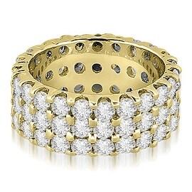 4.85 cttw. 14K Yellow Gold Round Diamond Three Row Eternity Ring