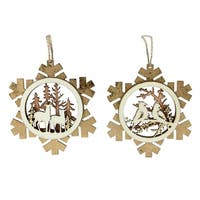 Set of 2 Brown Laser Cut Rustic Woodland Animal Snowflake Christmas Ornaments 4""