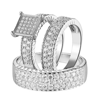 Sterling Silver Wedding Trio Ring Set His & Hers Engagement Simulated Diamonds