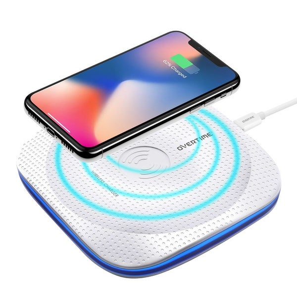 Overtime Wireless Charging Pad White Qi Compatible with LED Light