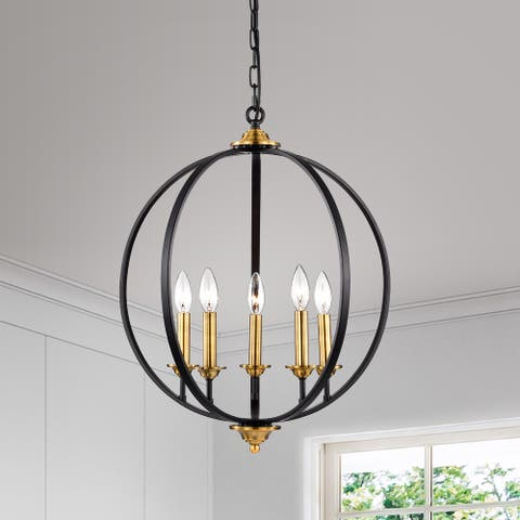 Matte Black and Gold Candle Style Globe Chandelier