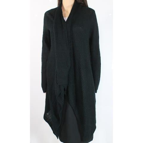 Joe Fresh Women's Black Medium M Draped Open Front Cardigan Sweater