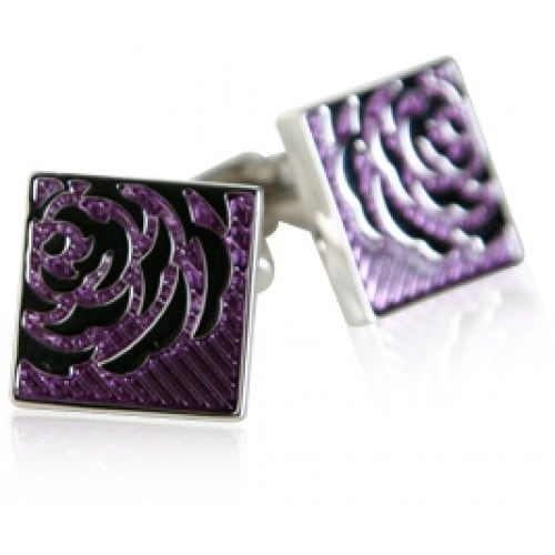 Lavendar Rose Flower Cufflinks