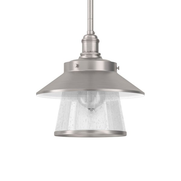 """Park Harbor PHPL5011 Stockton 9"""" Wide Single Light Mini Pendant with Industrial Style Shade and Seedy Glass"""