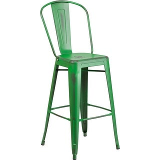 Brimmes 30'' High Distressed Green Metal Indoor/Outdoor/Patio/Bar Barstool w/Back