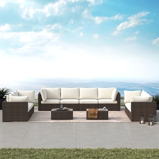 Link to Wevok 12-piece Aluminum Patio Wicker Sectional Sofa Set with Cushions by Havenside Home Similar Items in Outdoor Sofas, Chairs & Sectionals