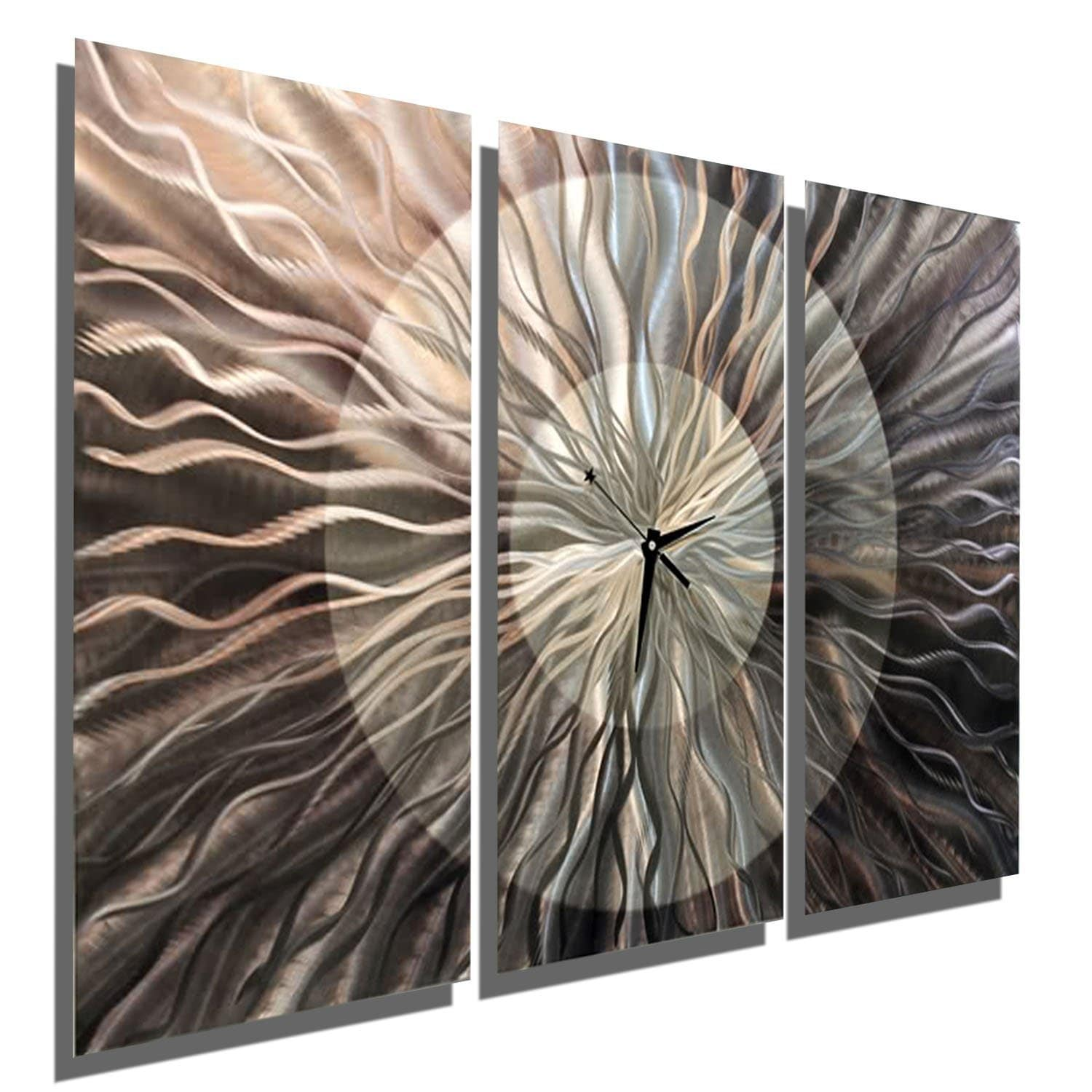 Statements2000 Silver / Charcoal 38-inch Abstract Metal Panel Wall Clock - Obsidian Burst - Thumbnail 0