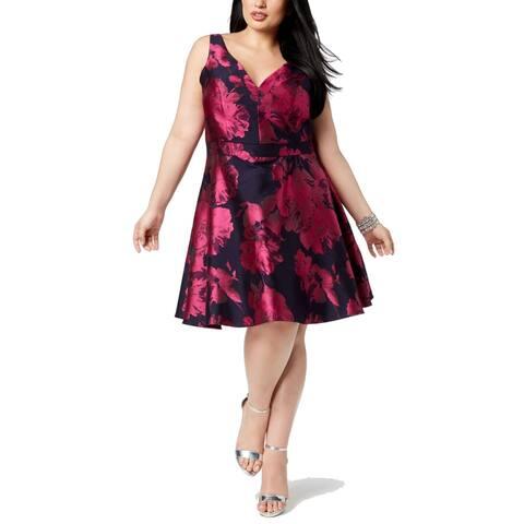 Xscape Womens A-Line Dress Purple Blue Size 22W Plus Floral Fit Flare