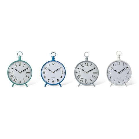 Set of 4 Green and Blue Analog Stylish Look Round Table Clocks 13.5""