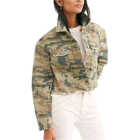 Free People Womens Crop Camo Jean Jacket