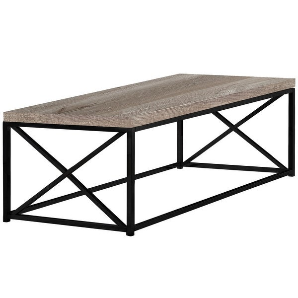 """44"""" Taupe Brown Contemporary Rectangular Coffee Table - N/A"""