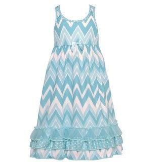 Laura Dare Little Girls Blue White Chevron Stripe Racer Back Nightgown 4-6X