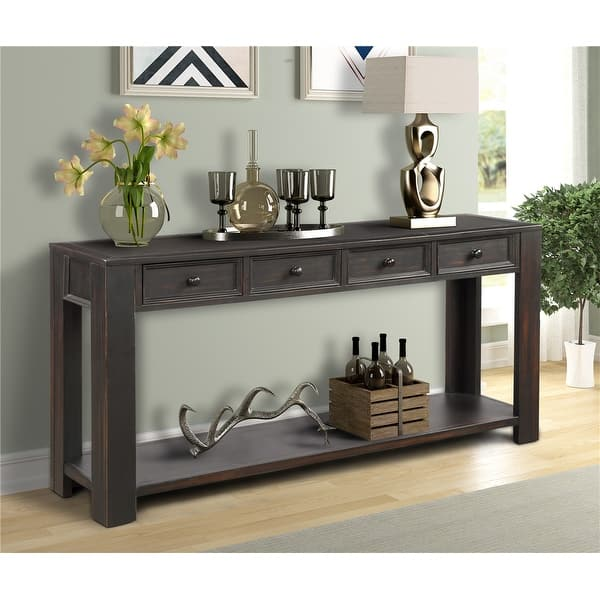 Black Console Table With 4 Storage Drawers On Sale Overstock 29341068