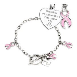 Pink Ribbon Cancer Awareness Charms on Chain Stainless Steel Bracelet (4 mm) - 8 in