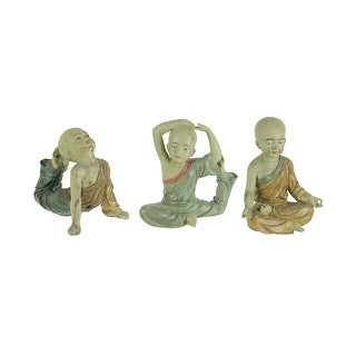 Wonderful 3 Piece Asian Child Monk Yoga Pose Statue Set - 8 X 7.75 X 3.75 inches
