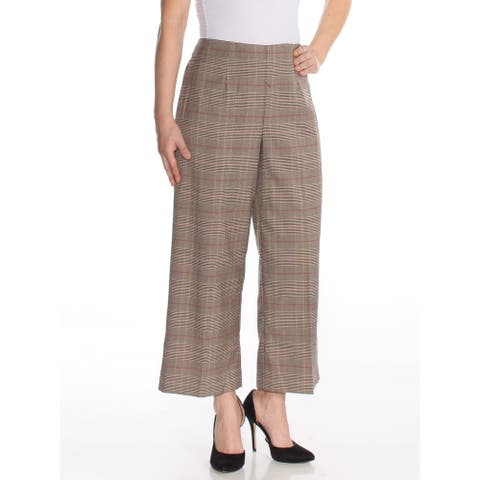 CECE Womens Gray Plaid Cropped Wide Leg Wear to Work Pants Size 4