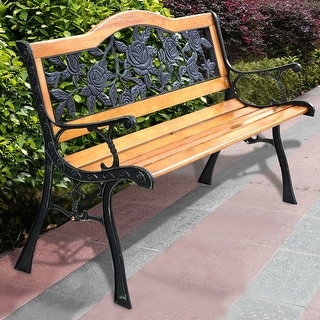 Merveilleux Costway Patio Park Garden Bench Porch Path Chair Furniture Cast Iron  Hardwood