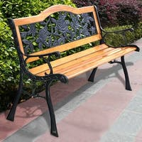 Costway Patio Park Garden Bench Porch Path Chair Furniture Cast Iron Hardwood - YELLOW