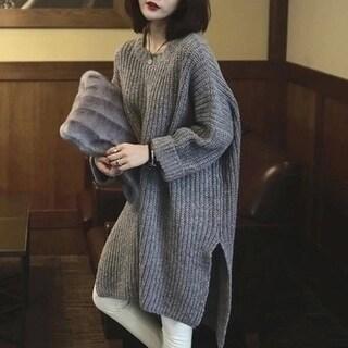 Oversized Long Side Slit Gray Knit Sweater