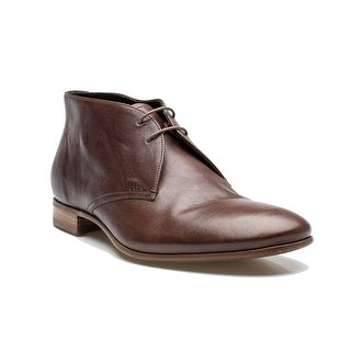 Prada Men's Oxford Chukka Dress Shoes Boot Leather Cocco Brown