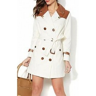 Iman NEW White Ivory Womens Size XL Faux-Leather-Trim Trench Coat
