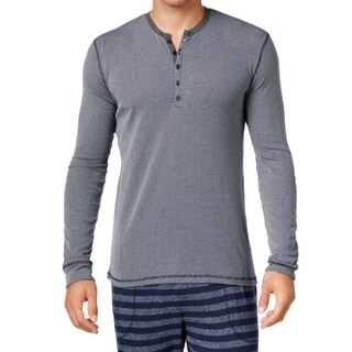 Kenneth Cole Reaction NEW Blue Mens Size XL Henley Striped Sleep Shirt