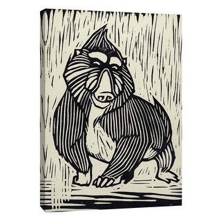 """PTM Images 9-109071  PTM Canvas Collection 10"""" x 8"""" - """"Mandrill Linocut"""" Giclee Monkeys Art Print on Canvas"""